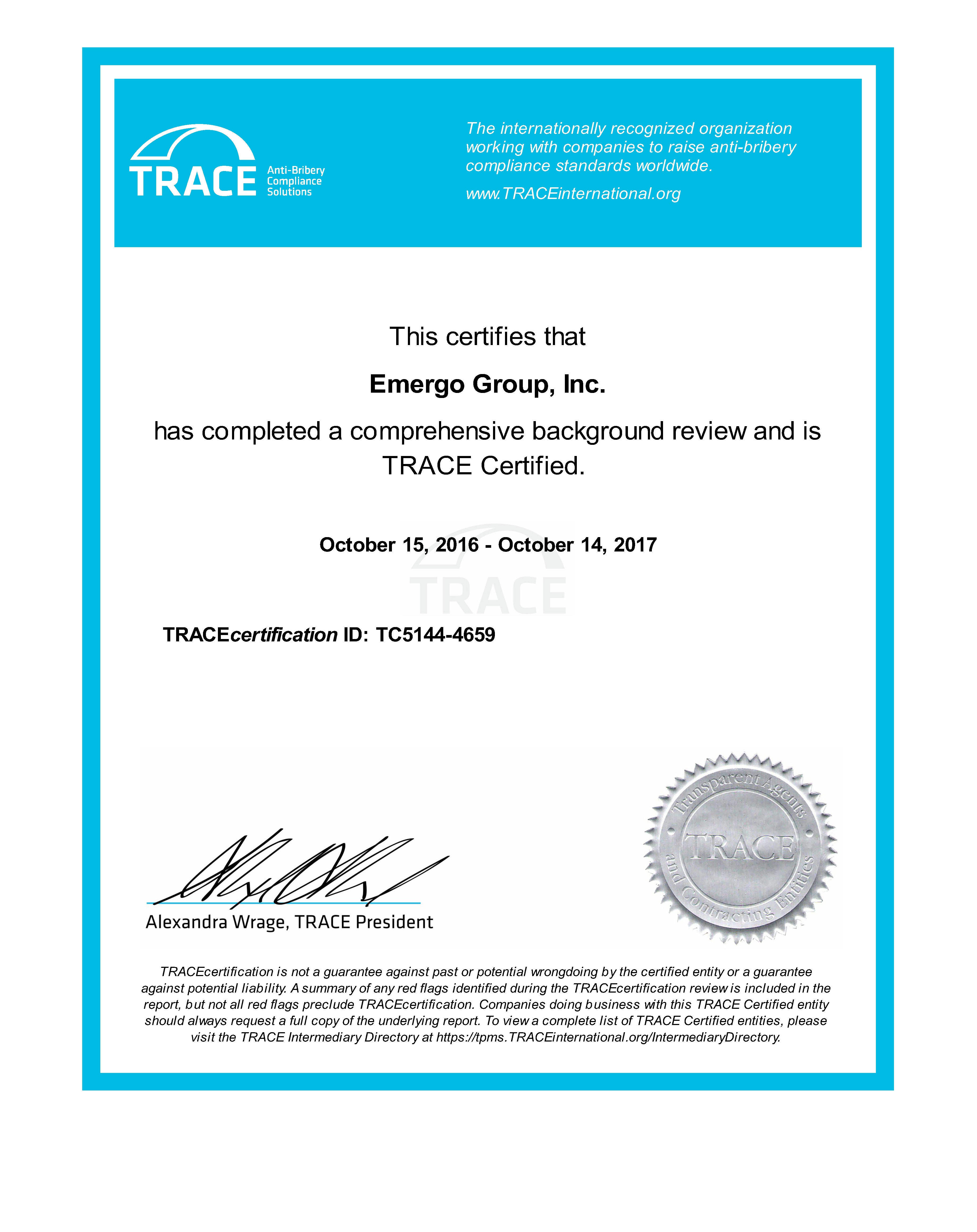 Emergo TRACE certificate