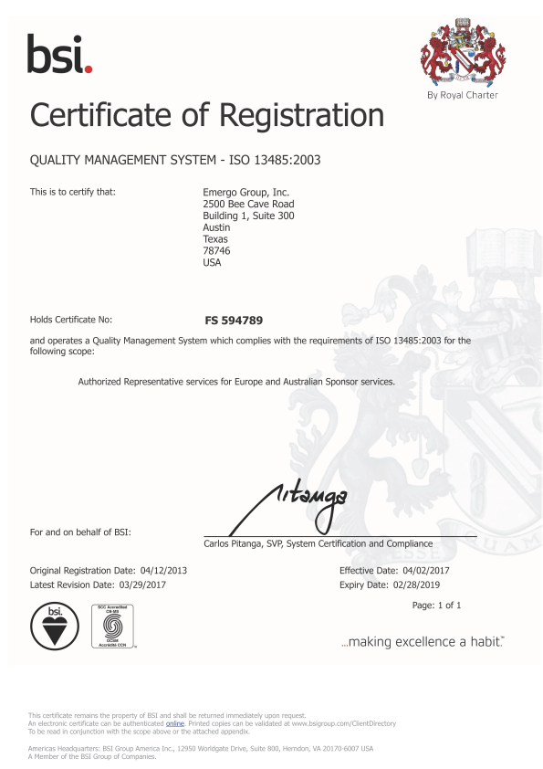 Emergo is an ISO 13485:2003 certified consulting firm